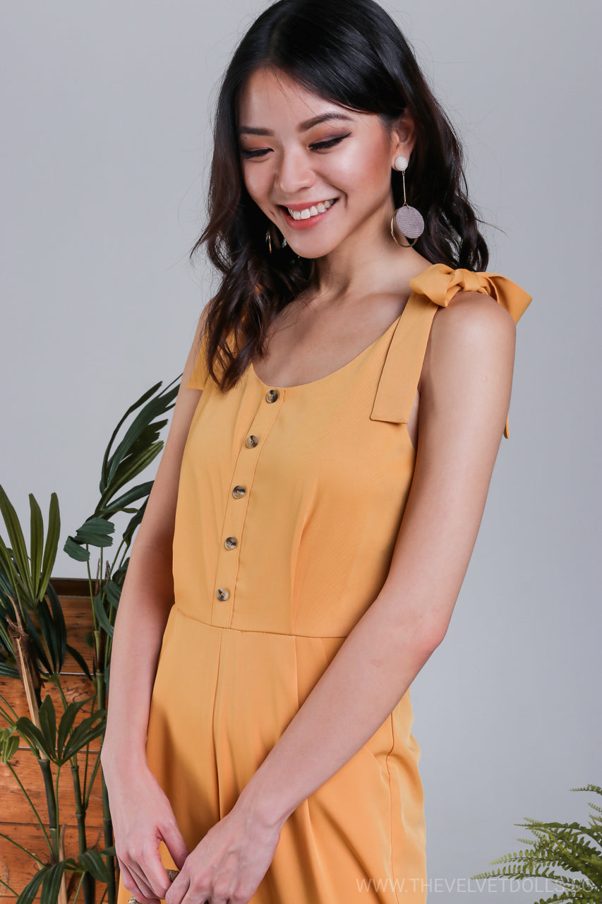 Sicily Ribbon-Tie Strap Jumpsuit in Butterscotch*