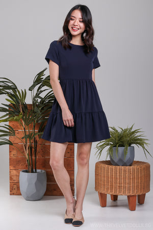 Jamie Tier Babydoll Dress in Navy