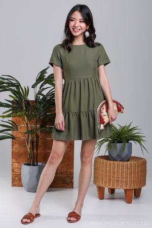 Jamie Tier Babydoll Dress in Fern Green