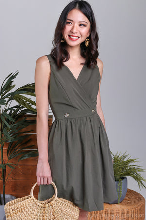 Giselle Overlap Button Dress in Moss Green