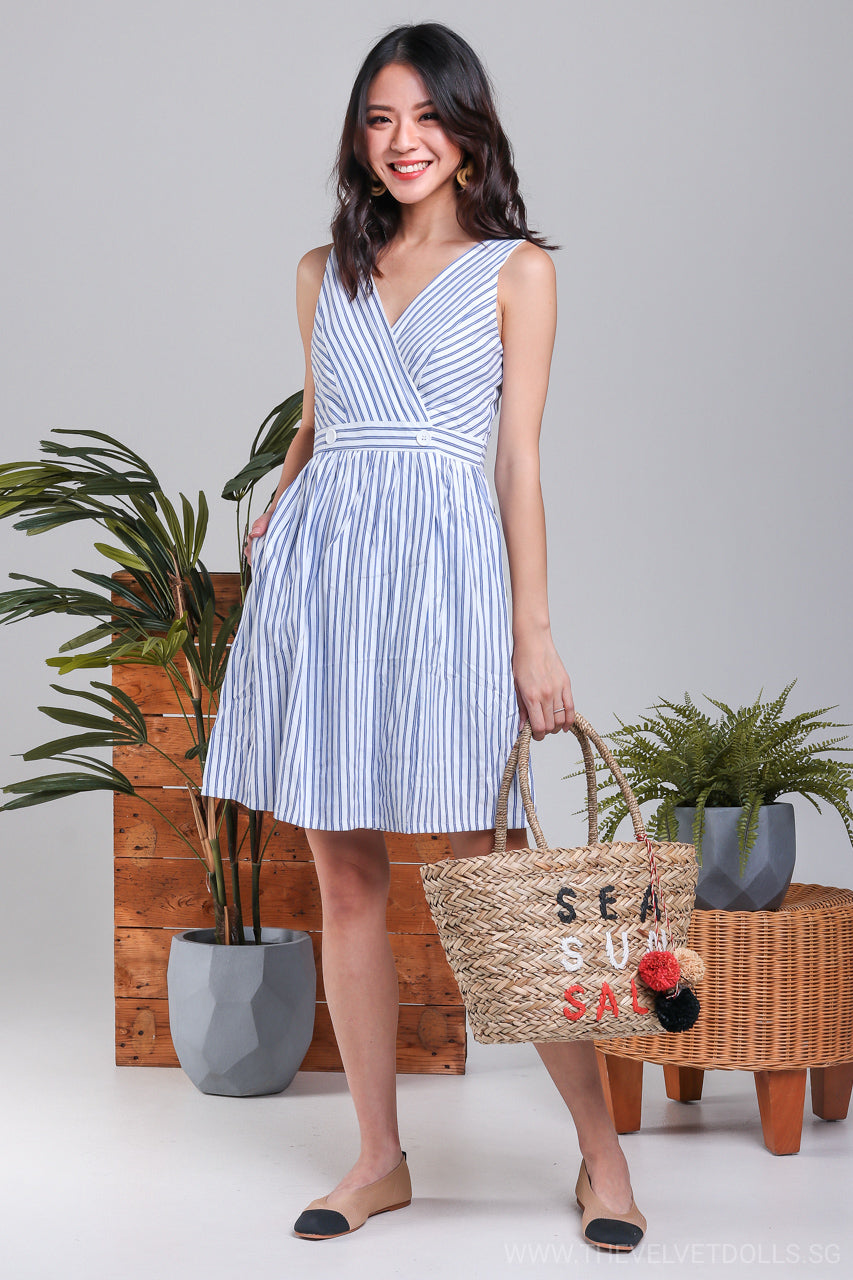 Giselle Overlap Button Dress in Blue Stripes