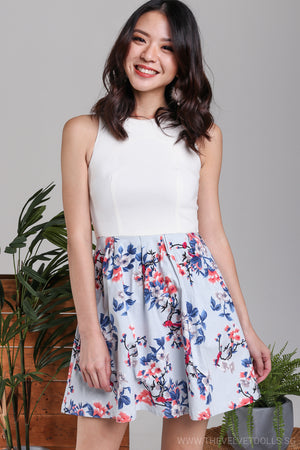 Azalea Floral Flare Dress in Sky