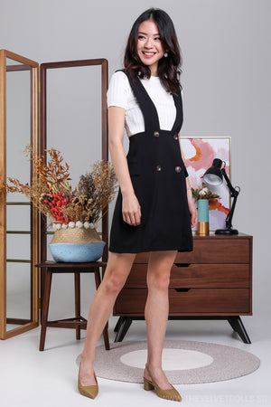 Agnes Button Pinafore Skirt in Black