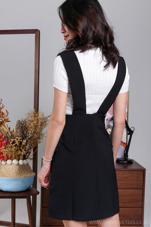 Restocked* Agnes Button Pinafore Skirt in Black