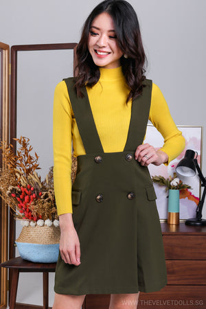 Restocked* Agnes Button Pinafore Skirt in Olive