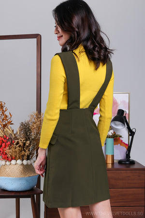 Agnes Button Pinafore Skirt in Olive