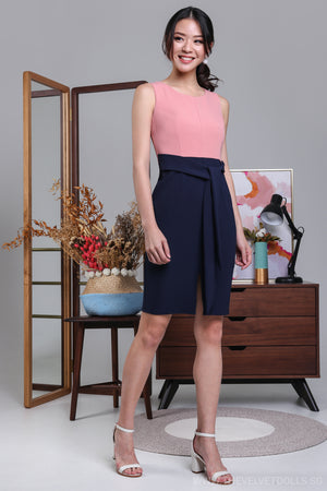 A-Lister Colorblock Dress in Pink/Navy