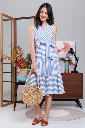 Restocked* Crossing The Stripes Dress in Blue