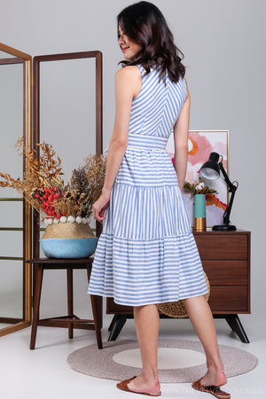 Backorder* Crossing The Stripes Dress in Blue