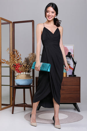 Restocked* Eleanor Tulip Wrap Dress in Black