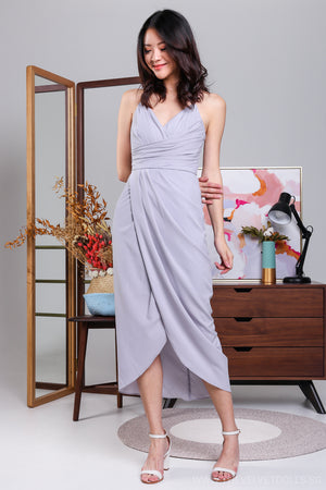 Eleanor Tulip Wrap Dress in Lilac Grey