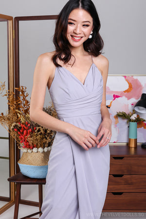 Restocked* Eleanor Tulip Wrap Dress in Lilac Grey