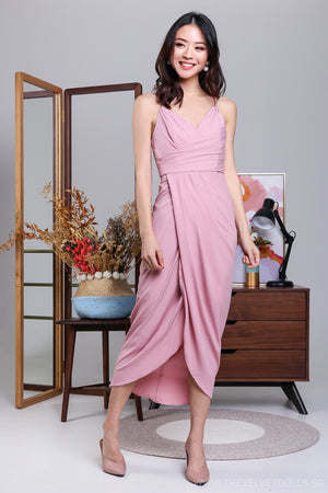 Restocked* Eleanor Tulip Wrap Dress in Pastel Pink