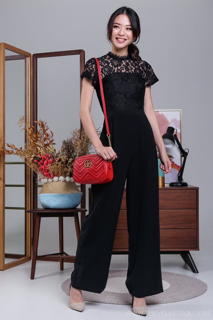 2c63bae3c205 High Society Lace Jumpsuit in Black