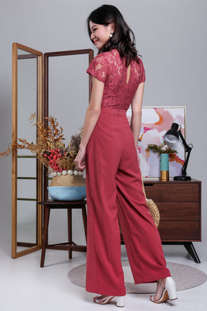 High Society Lace Jumpsuit in Muted Rose