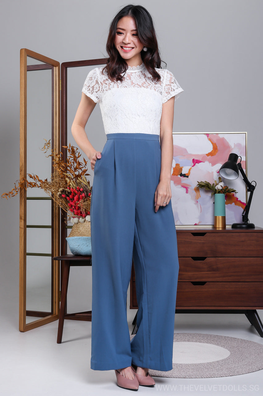 7897fd394f54 High Society Lace Jumpsuit in White   Blue