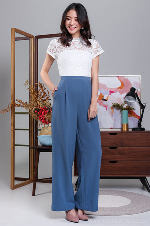High Society Lace Jumpsuit in White & Blue