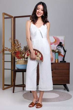 Restocked* Linden Lea Jumpsuit in Eyelet