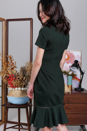 Odette Mermaid Midi Dress in Forest