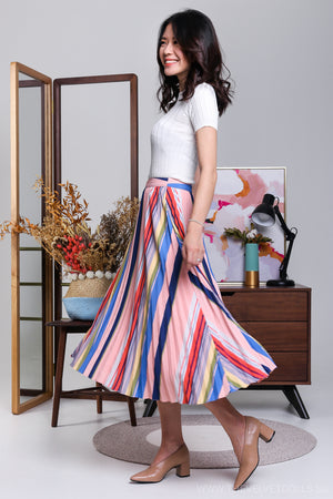 Over The Rainbow Pleated Midi Skirt in Peach