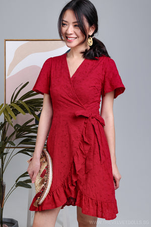 Alora Crochet Wrap Dress in Red