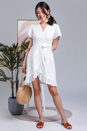 Alora Crochet Wrap Dress in White