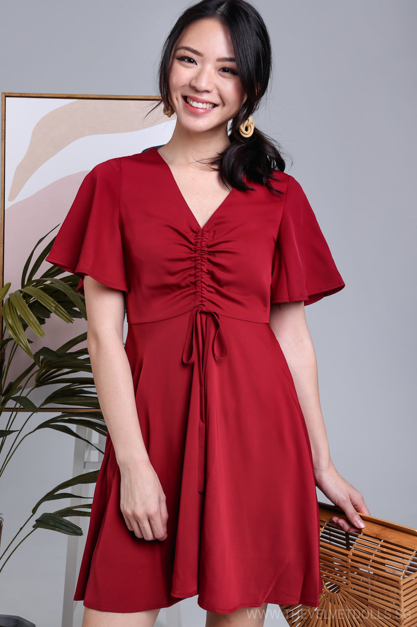 Flutter Sleeve Drawstring Dress in Wine
