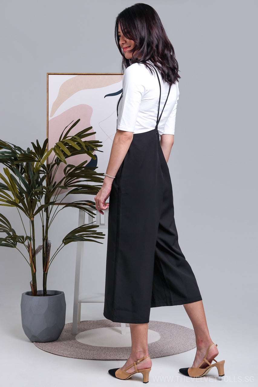 Tiana 2-Piece Culottes Pinafore in Black