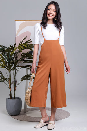 Tiana 2-Piece Culottes Pinafore in Camel