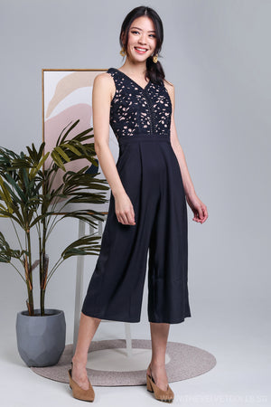 Clarissa Crochet Jumpsuit in Navy