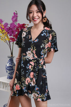 Althea Playsuit Dress in Black Floral