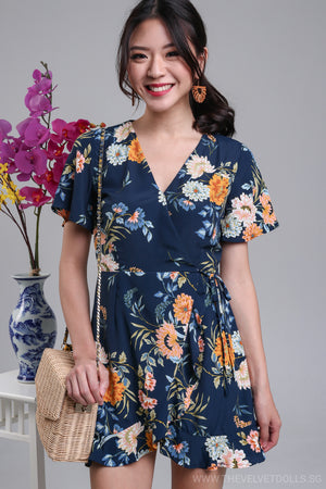 Althea Playsuit Dress in Navy Floral