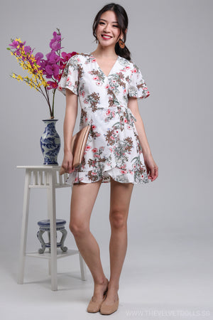 Althea Playsuit Dress in White Floral