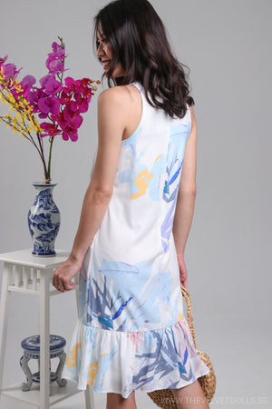 Restocked* Claude Abstract Drophem Dress in Pastel