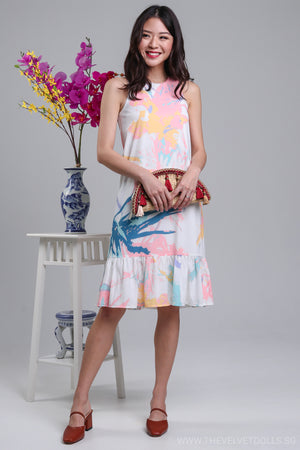 Restocked* Claude Abstract Drophem Dress in Vibrant