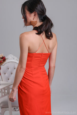 Eleanor Tulip Wrap Dress in Tangerine