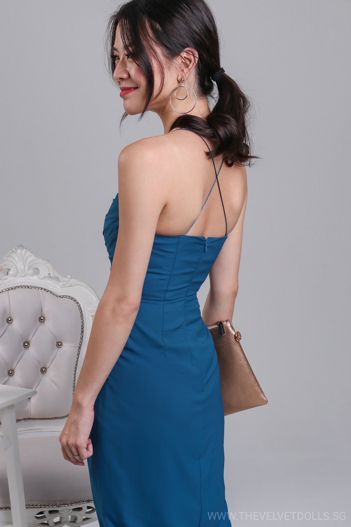 Eleanor Tulip Wrap Dress in Teal