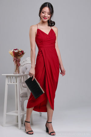 Eleanor Tulip Wrap Dress in Wine