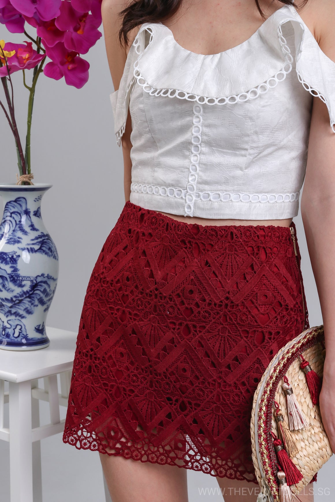 Fairfield Crochet Skorts in Wine