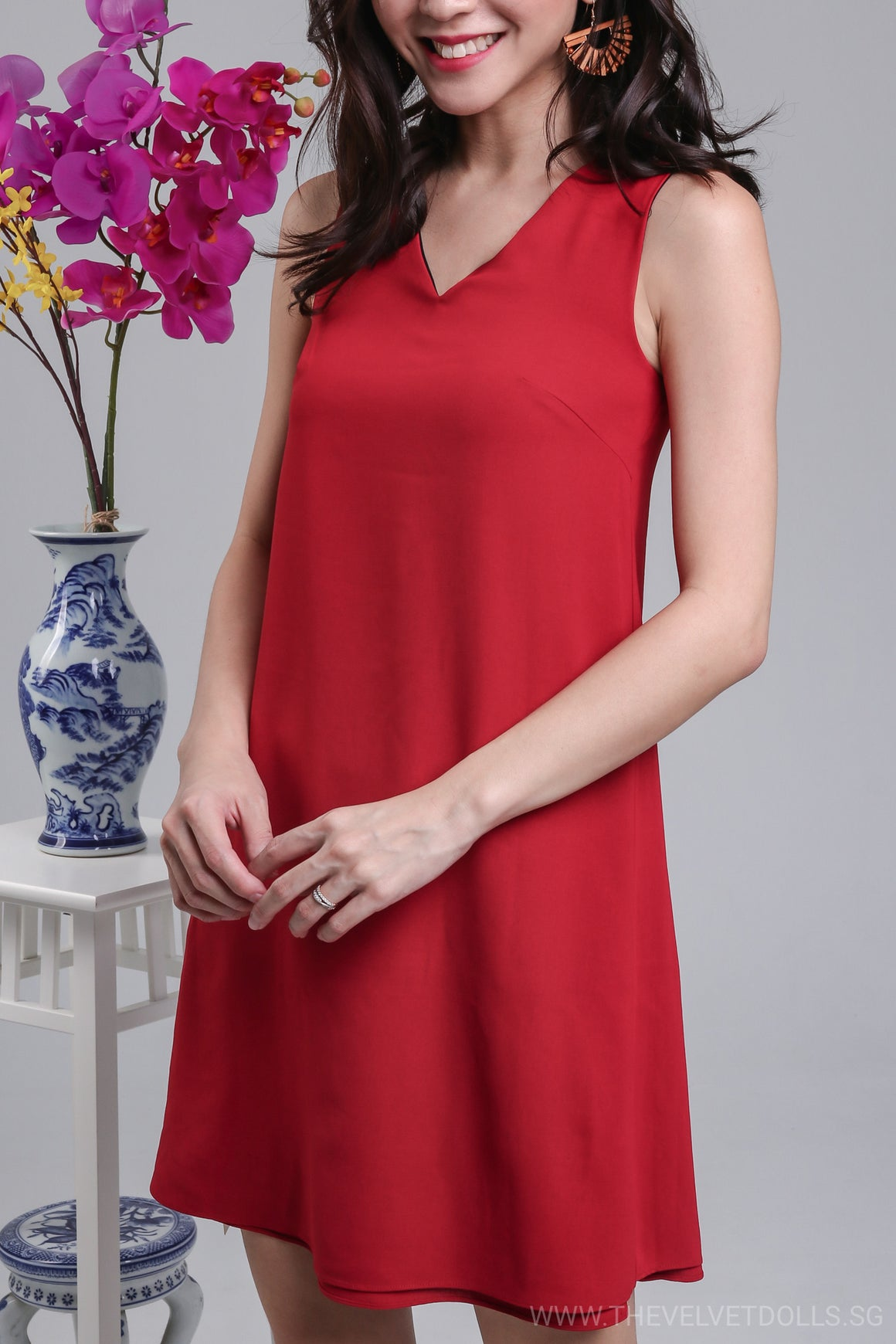 Inside Out Reversible Dress in Black Red