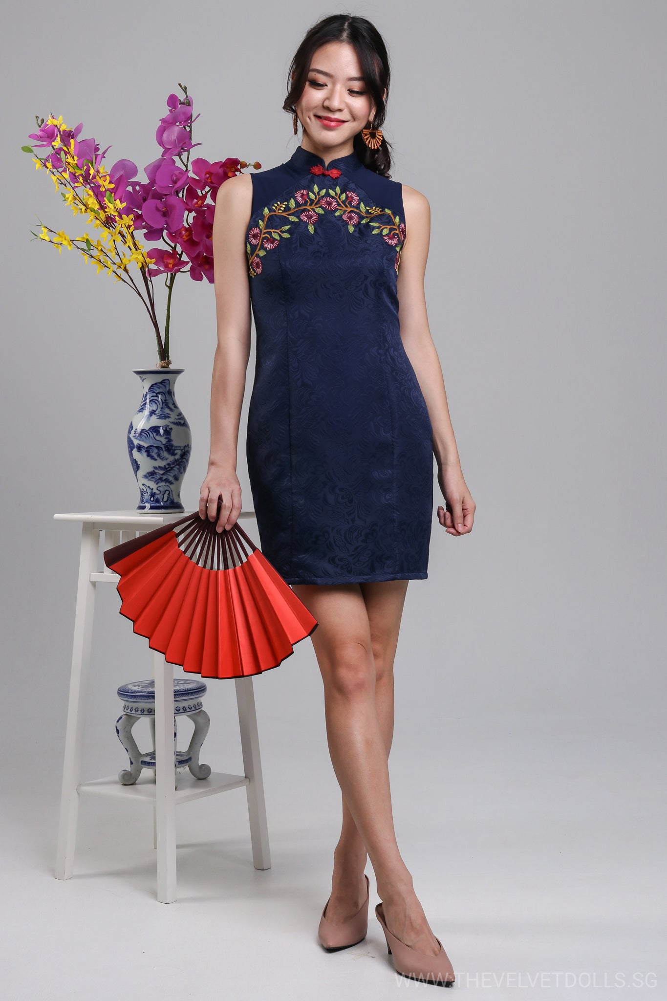 a67b770dce1 Narcissus Embossed Cheongsam in Navy