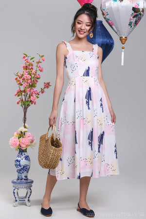 Confetti Ruffle Strap Midi Dress