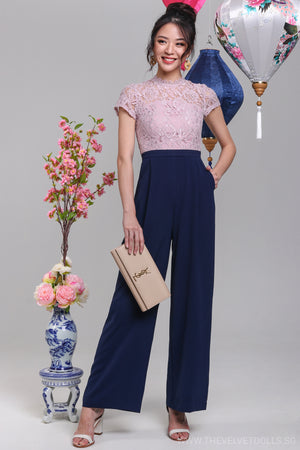 High Society Lace Jumpsuit in Pink & Navy