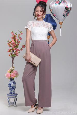 High Society Lace Jumpsuit in White & Mauve