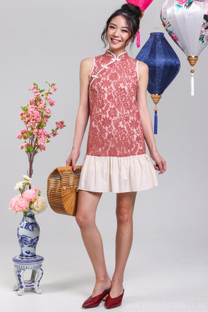 Modern Sensibility Cheongsam in Tea Rose