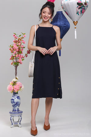Pompeii Side Slit Midi Dress in Navy