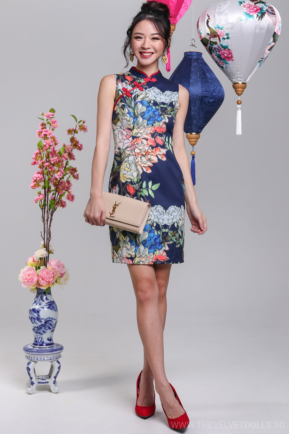 Spring Time Cheongsam in Navy