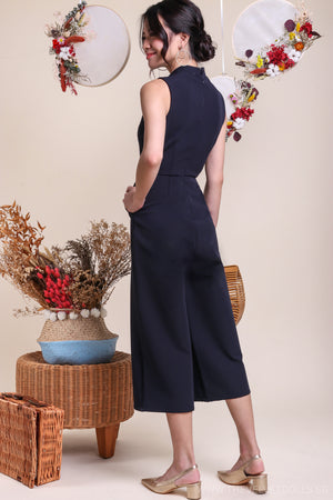 Oaklyn Oriental Jumpsuit in Navy