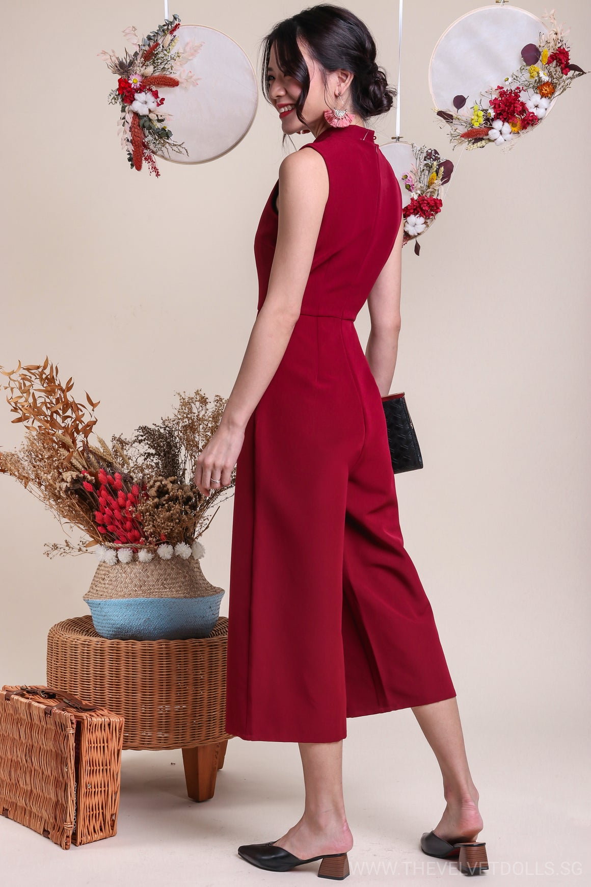 Oaklyn Oriental Jumpsuit in Wine