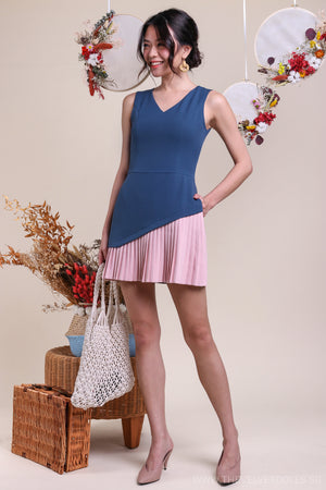 Pleat-Side Romper in Blue & Pink